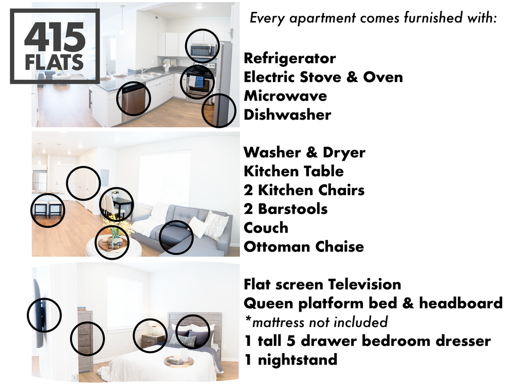 Every apartment comes furnished with: