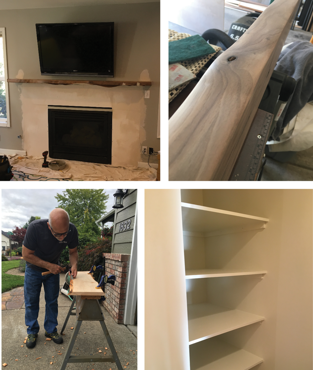 Live Edge Mantel and Bookshelves - Design and Construction