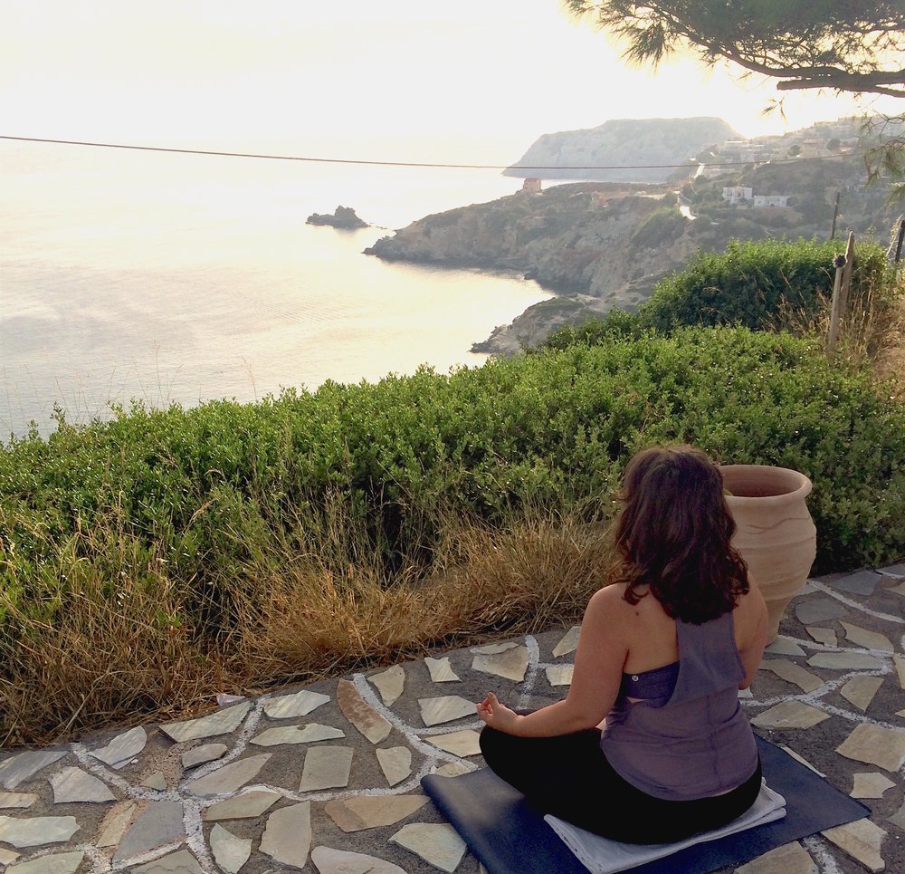 Morning meditation in Crete