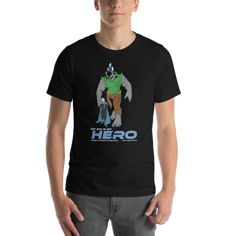 """Jetpulse Comics™ """"My Kid is My Hero"""" Tee   Squad leaders are tasked with the most important mission - raising a superhero.Act now and let the world know how awesome our kids truly are.  Price: $18.00"""