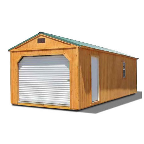 Stained Garage Building - Vegas Sheds