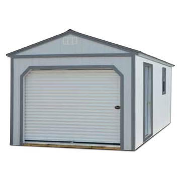 Painted portable Garage - Stained Garage Building - Vegas Sheds