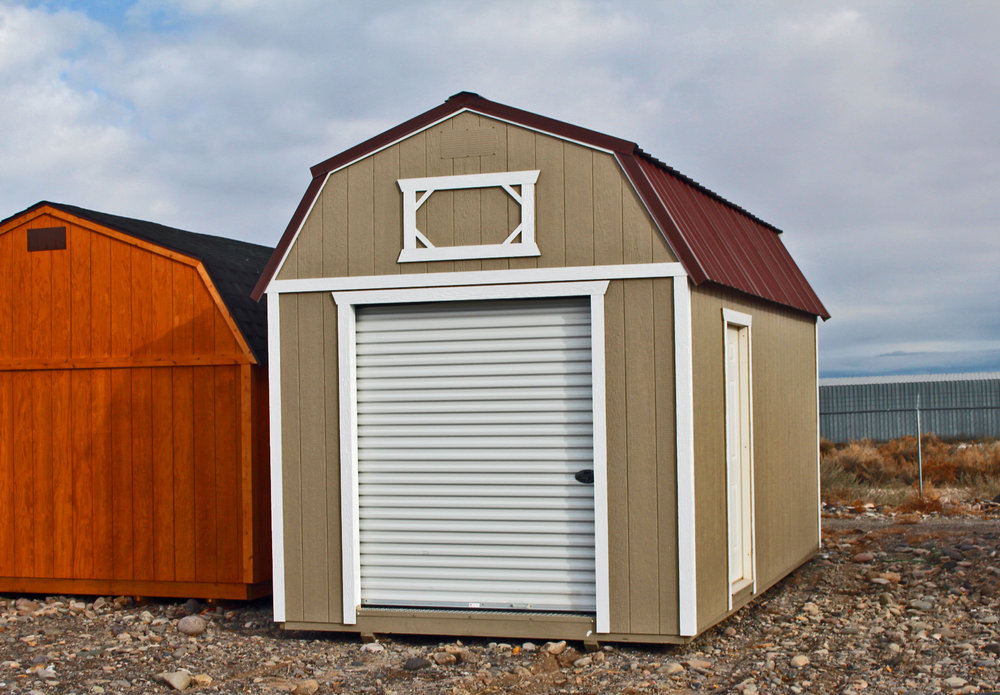 Lofted Barn with Garage door - Vegas Sheds