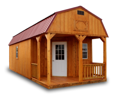 Stained Deluxe Lofted Barn Cabin - Vegas Sheds
