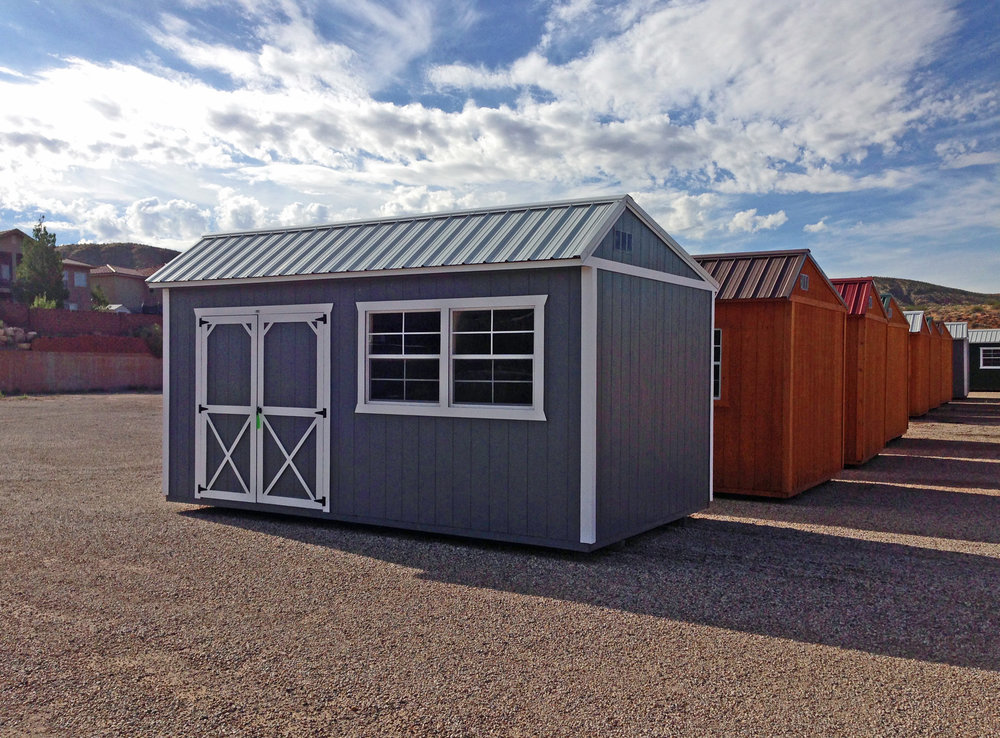 Grey Painted Cottage Shed - Vegas Sheds