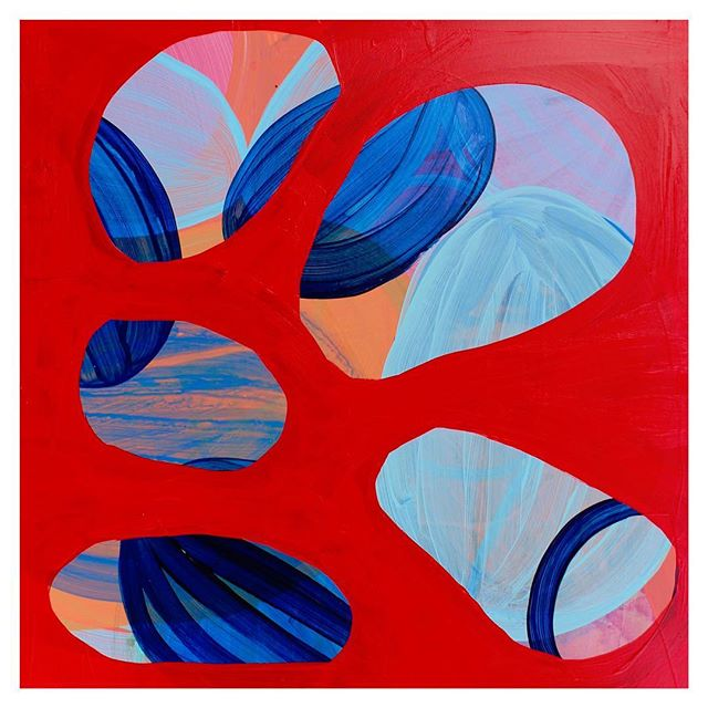 """Happy Friday, Friends! Hope you've entered into the Spring season with plenty of energy and good spirits! """"Sundered Merge"""" Acrylic on Board, 12x12in, 2019 . . . #contemporaryart #goldenacrylics #goldenpaints #red #blue #color #paint #painter #art #arte #artist #painting #abstract #fineart #contemporary #contemporaryart #contemporarypainting"""
