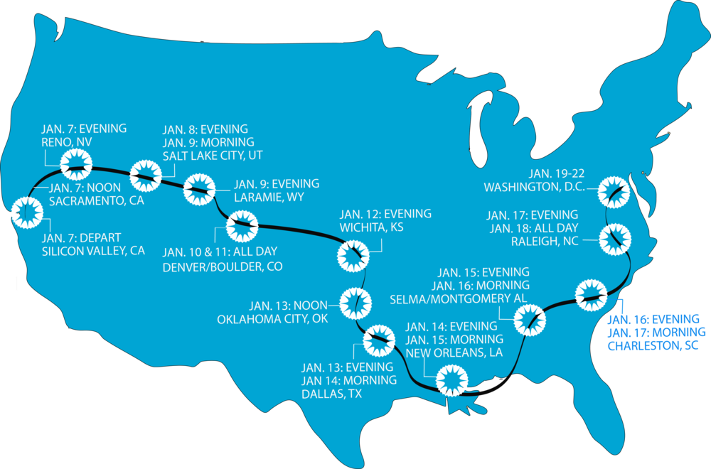 Our original route from California to Washington, D.C.