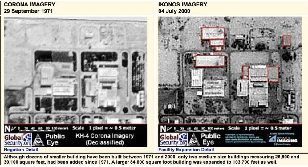 Figura 7. Dos imágenes satelitales parciales de la instalación nuclear de Dimona en Israel      Fig. 7. Two satellite images of part of Israel's Dimona nuclear facility