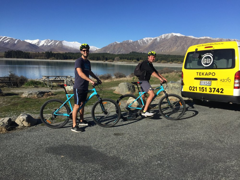 The first two hire bike customers enjoying a perfect spring day in Tekapo
