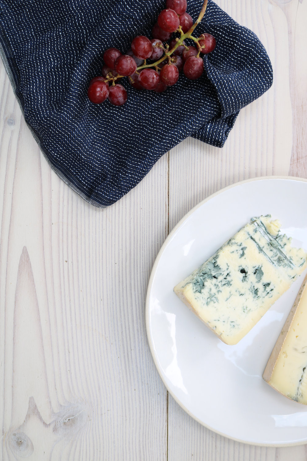 Gorgonzola and grapes on a wooden table | London Lifestyle Photoshoot | Creative Direction
