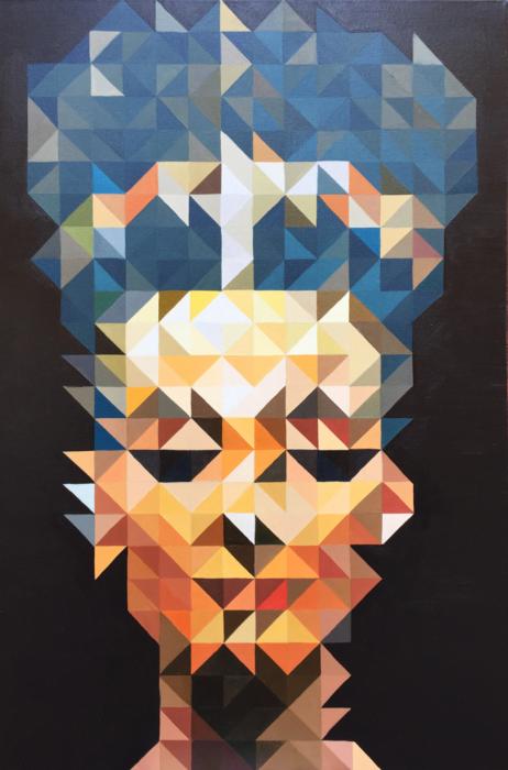 "Jamie Martinez                                           Nefertiti, 2016                                                oil on cotton                                                 36 x 24 """