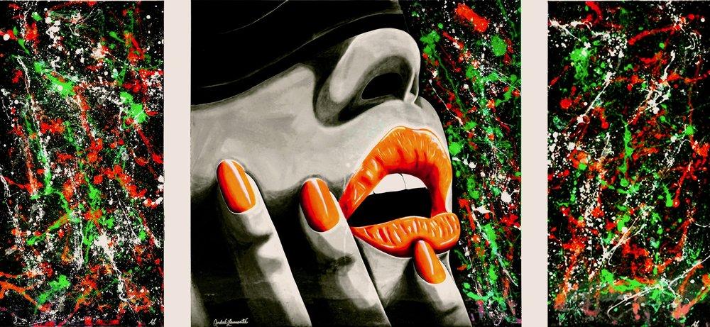 "Miami Vice , Acrylic, spray paint and resin on canvas, 48"" x 96"""