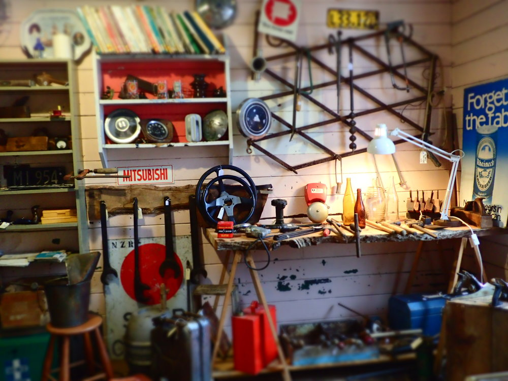 "Vintage & antique hand tools, automotive parts, NZ number plates, petrol & oil collectables,beer drinking & smoking paraphernalia, collectible bottles, , work shop essentials and more.  All in the ""they don't make them like that any more"" vintage quality,."