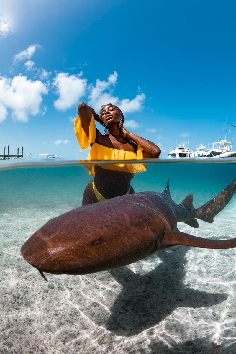 Tanyka Renne Nurse sharks Exuma Bahamas
