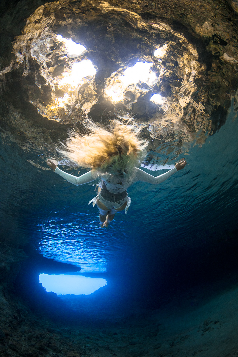 Underwater Model in Thunderball grotto , Exuma Cays, Bahamas (c) André Musgrove 2018.jpg