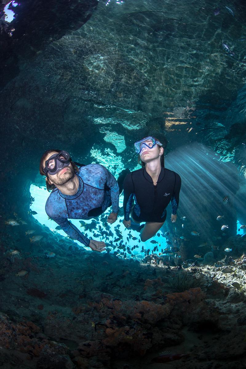 Thunderball Grotto exploring Exuma, Bahamas