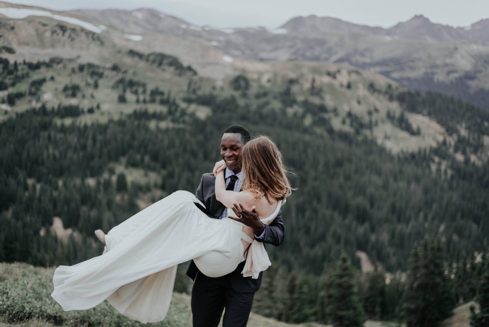Mountain top elopement photographer