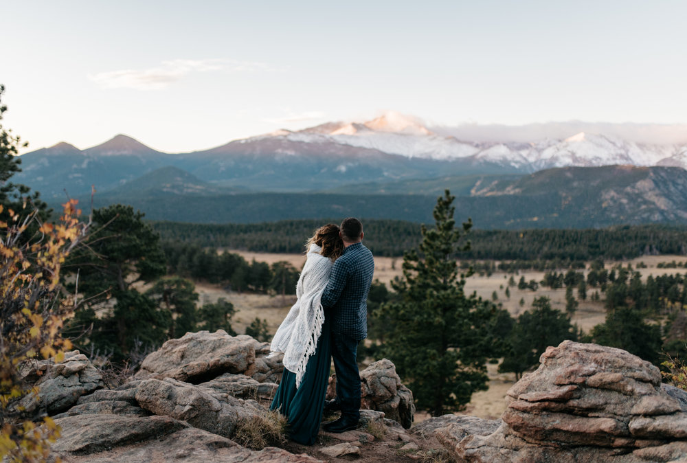 Rocky Mountain National Park in Colorado sunrise engagement session.