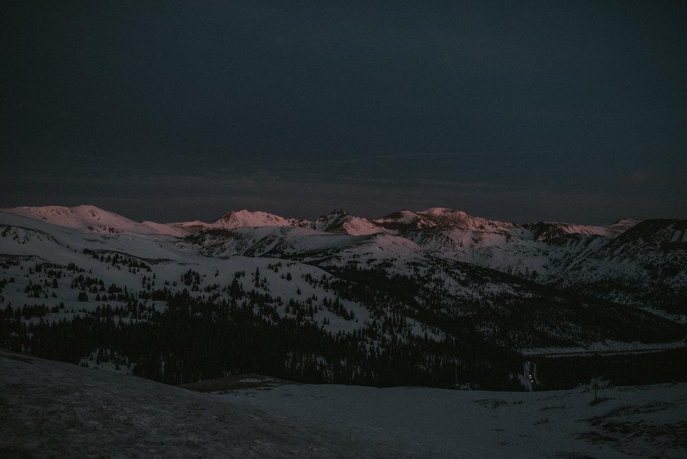 Loveland Pass sunrise engagement session.