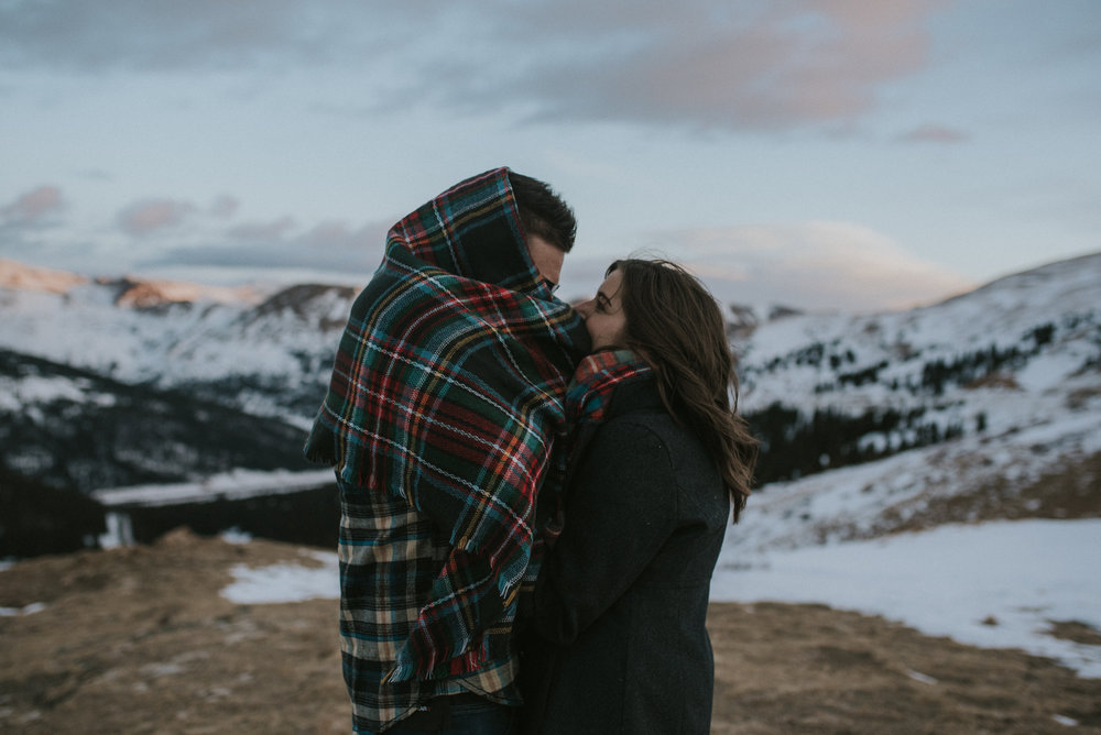 Loveland Pass winter engagement session