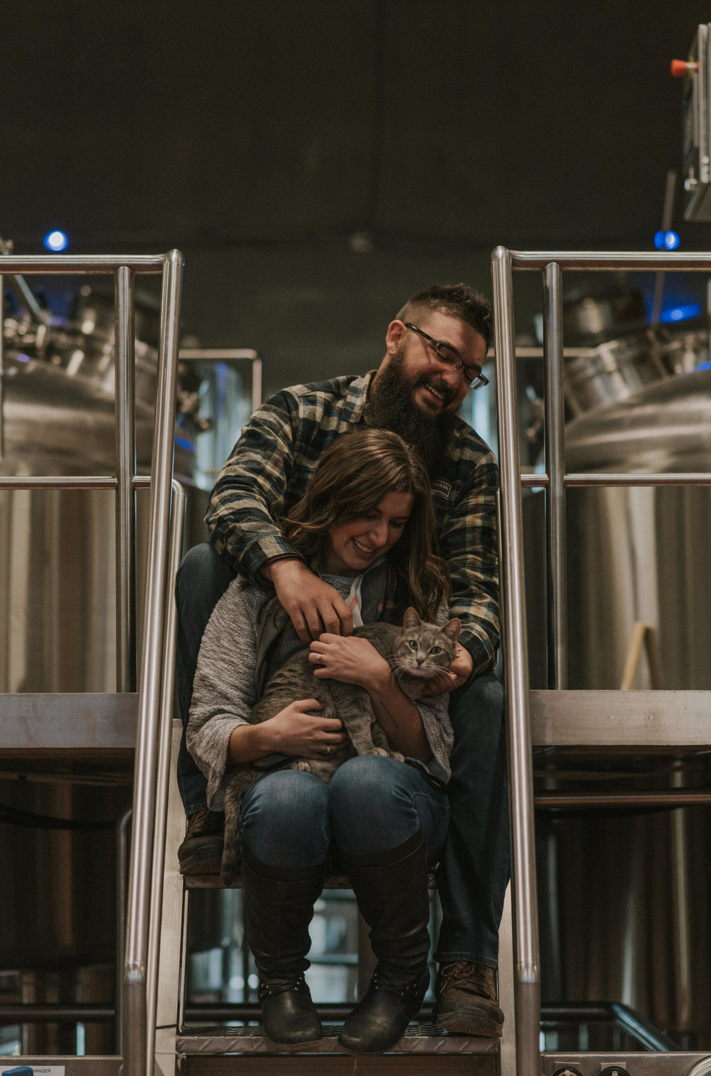 Offbeat adventure engagement session at New Terrain Brewery. Denver, Colorado wedding photographer.