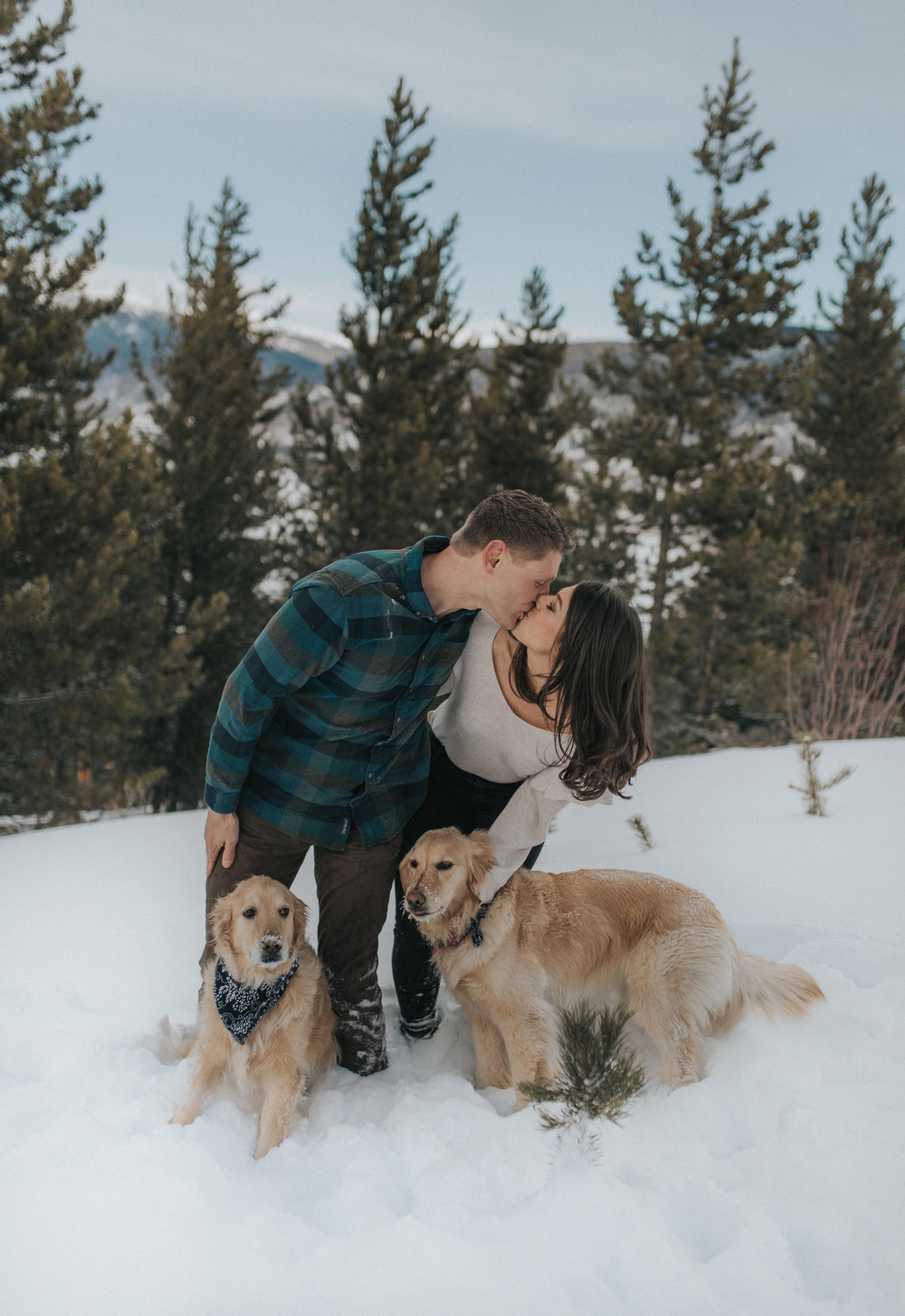 Sapphire Point snowy engagement session in Dillon, CO. Colorado wedding photographer.