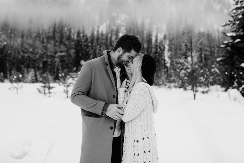 Winter engagement in Leavenworth, Washington
