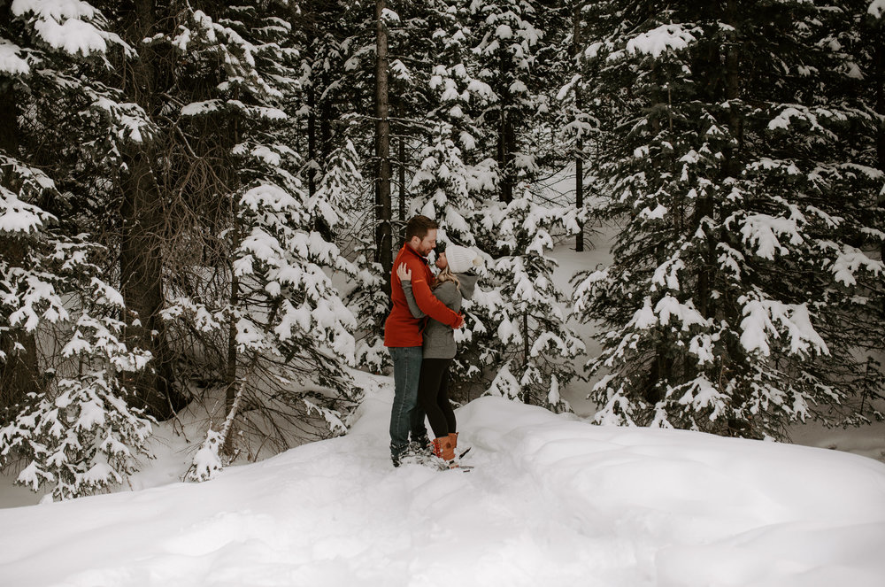 Winter engagement session in Breckenridge, Colorado at Boreas Pass. Colorado wedding and elopement photographer.