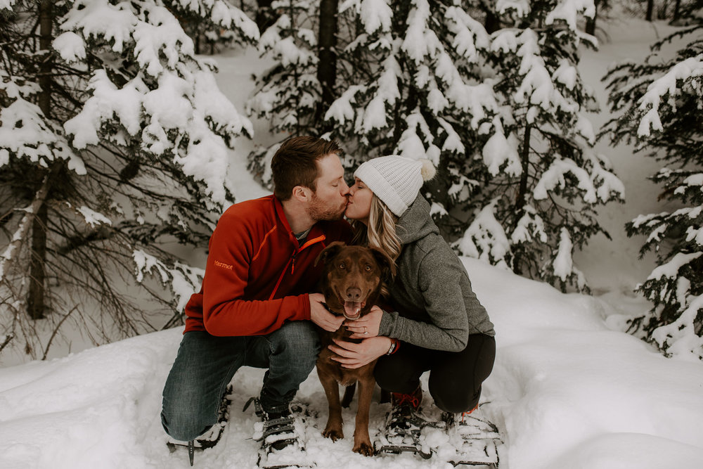 Winter adventure engagement session in the mountains of Colorado. Breckenridge, Colorado wedding and elopement photographer.