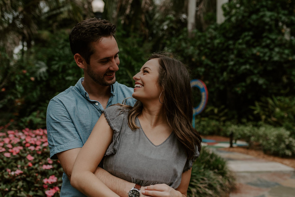 Cute engagement session at Sunken Gardens in St. Petersburg, Florida
