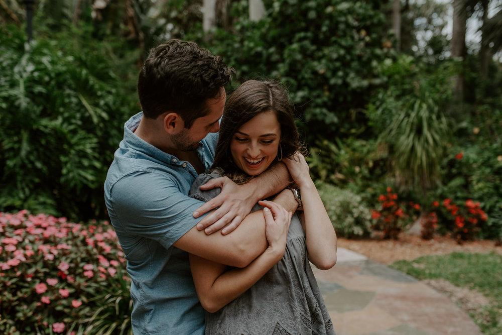 Summer engagement photos at Sunken Gardens in Florida