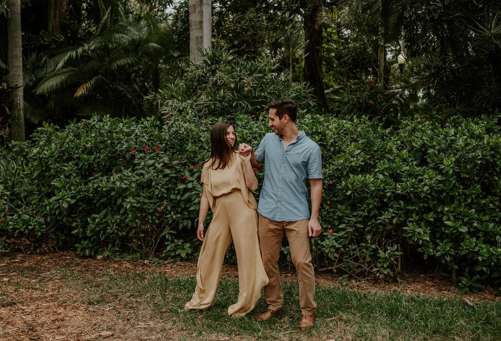Engagement photos at Sunken Gardens in Florida.