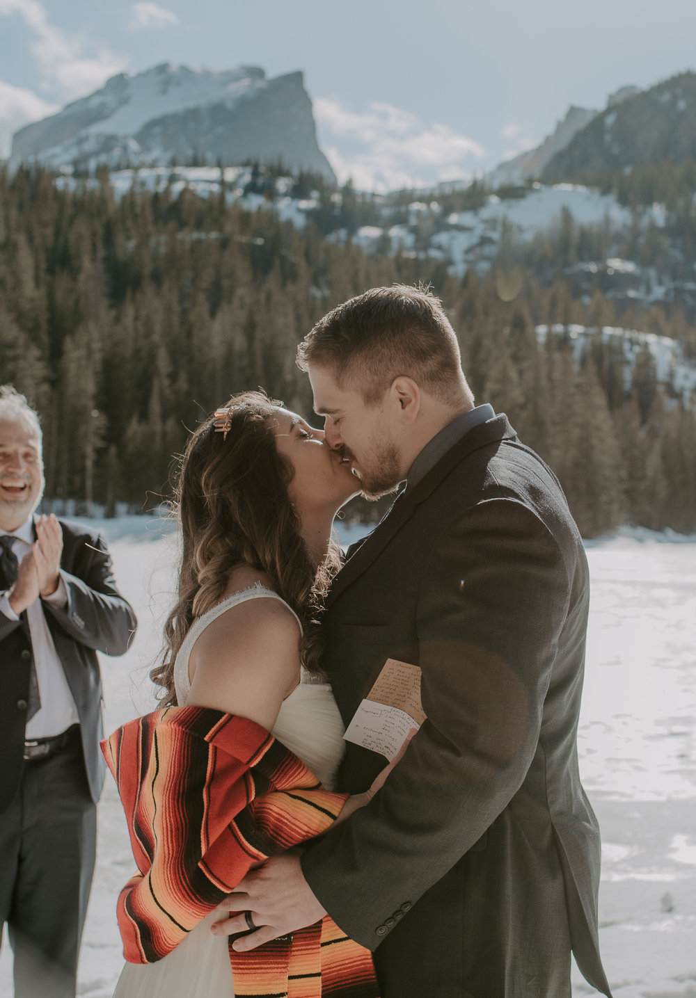 First kiss at this Bear Lake elopement in Rocky Mountain National Park