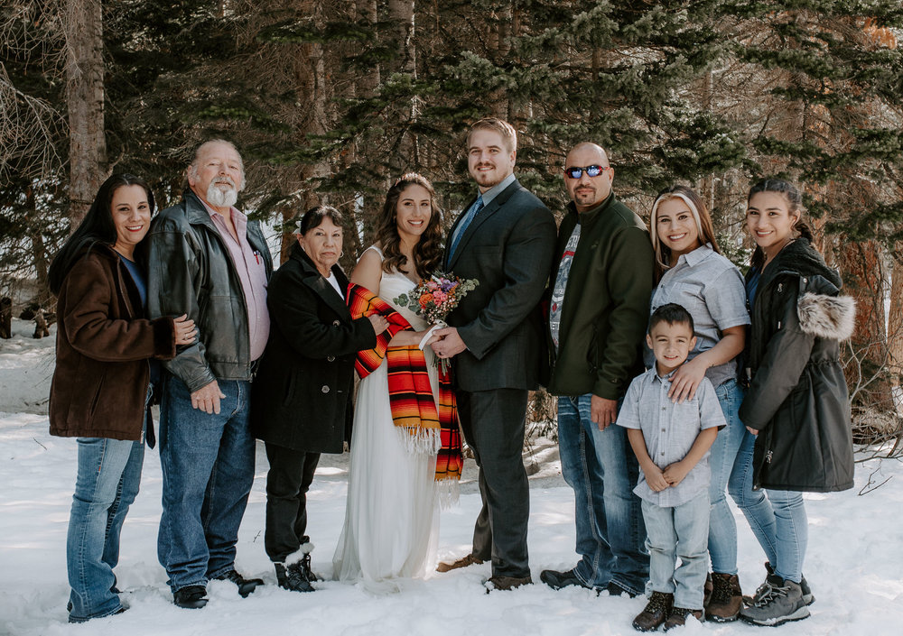 Family photos at a Bear Lake elopement in Colorado