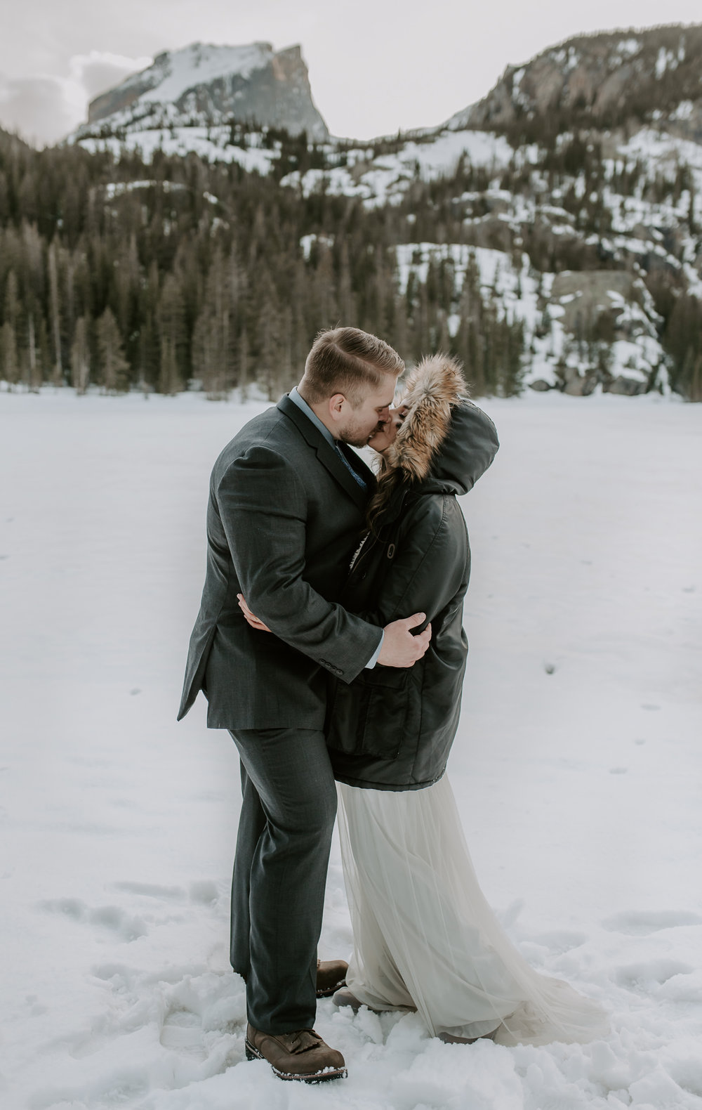 Winter intimate wedding in Rocky Mountain National Park at Bear Lake. Colorado elopement photographer.