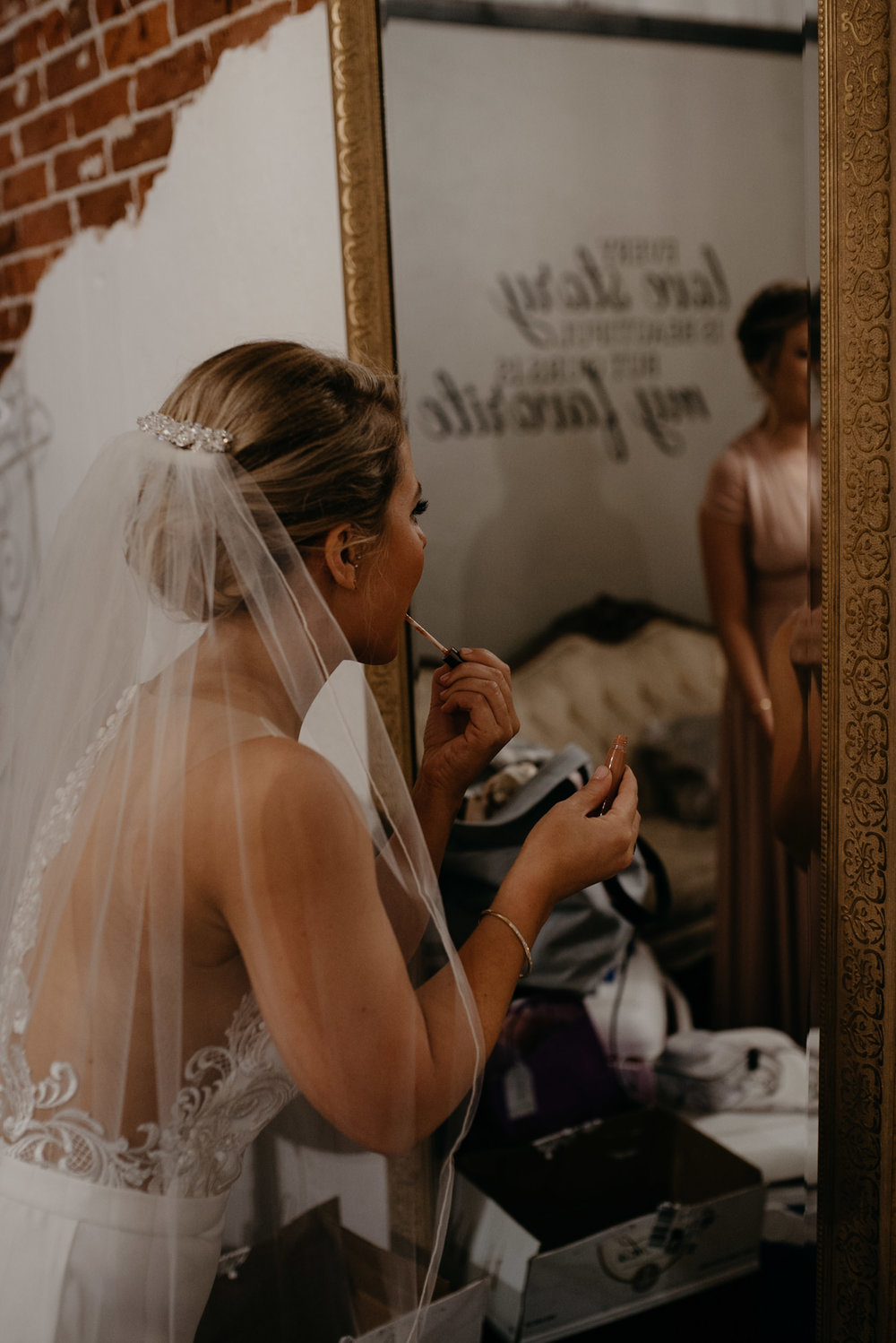 Getting ready photos at Moss. Downtown Denver wedding photography