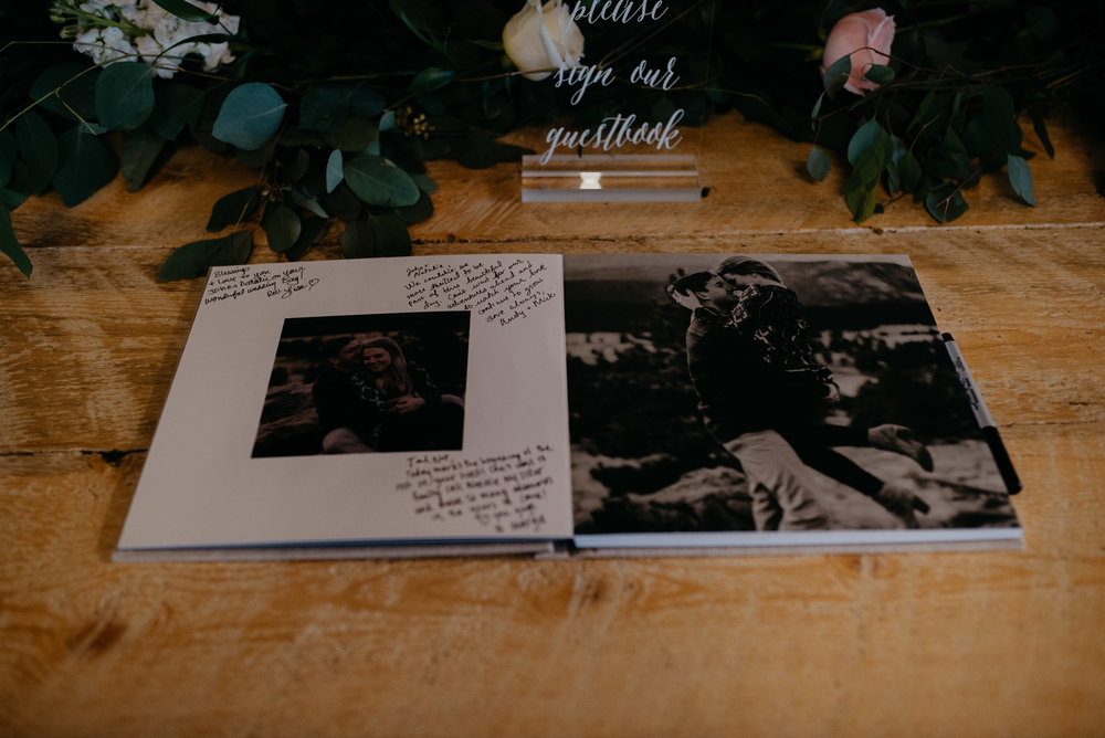 Denver Moss wedding guestbook. Colorado wedding photographer.