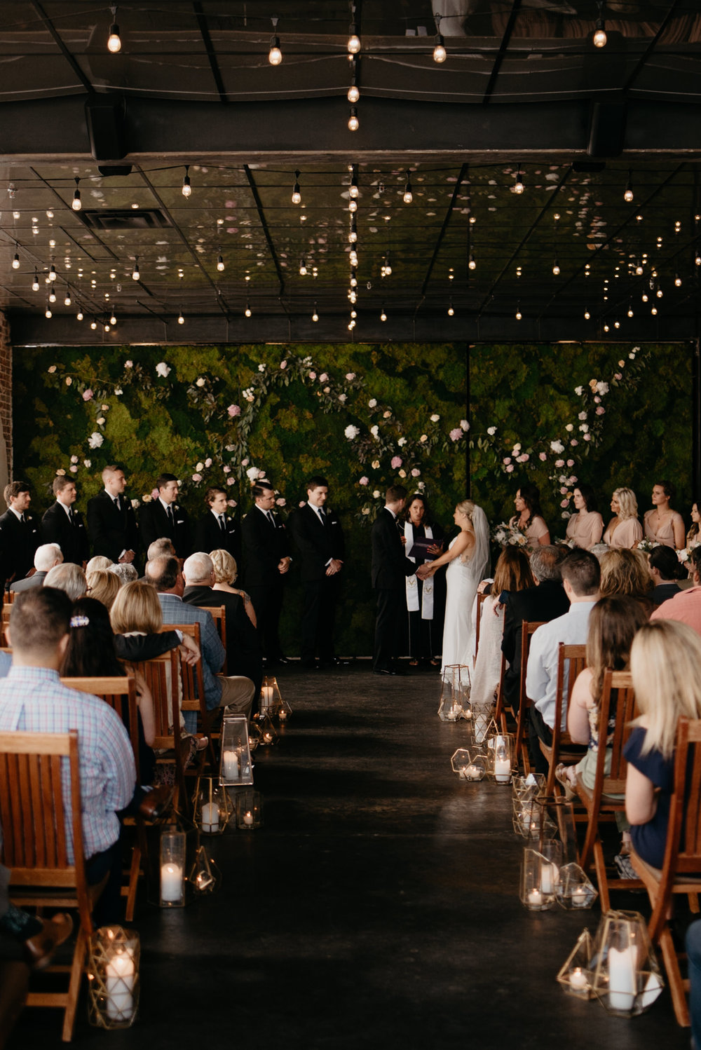Denver city wedding ceremony at Moss. Denver wedding venue.