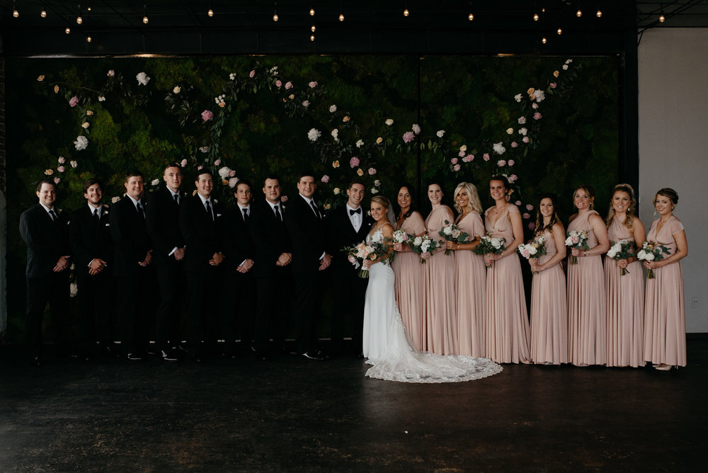 Bridal party at Moss Denver wedding. Colorado wedding photographer.