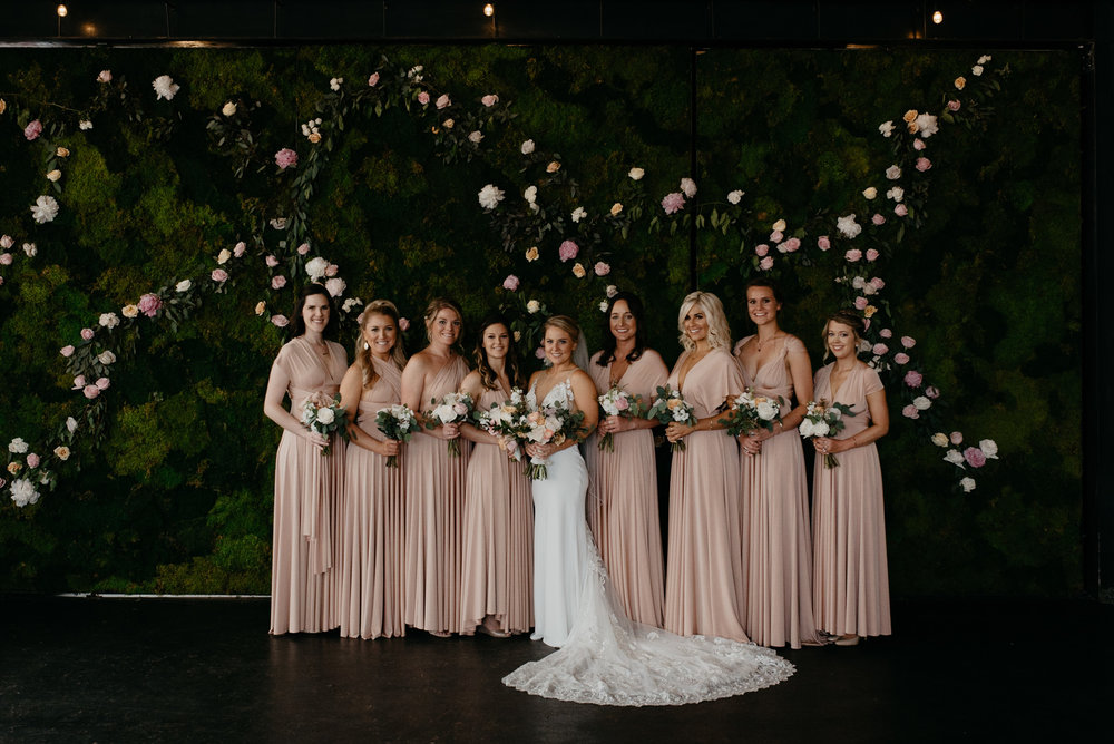Bridesmaids photos at Denver Moss wedding. Colorado wedding photographer.