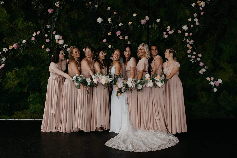 Colorado wedding photographer. Bridesmaids photos at downtown Denver wedding venue.