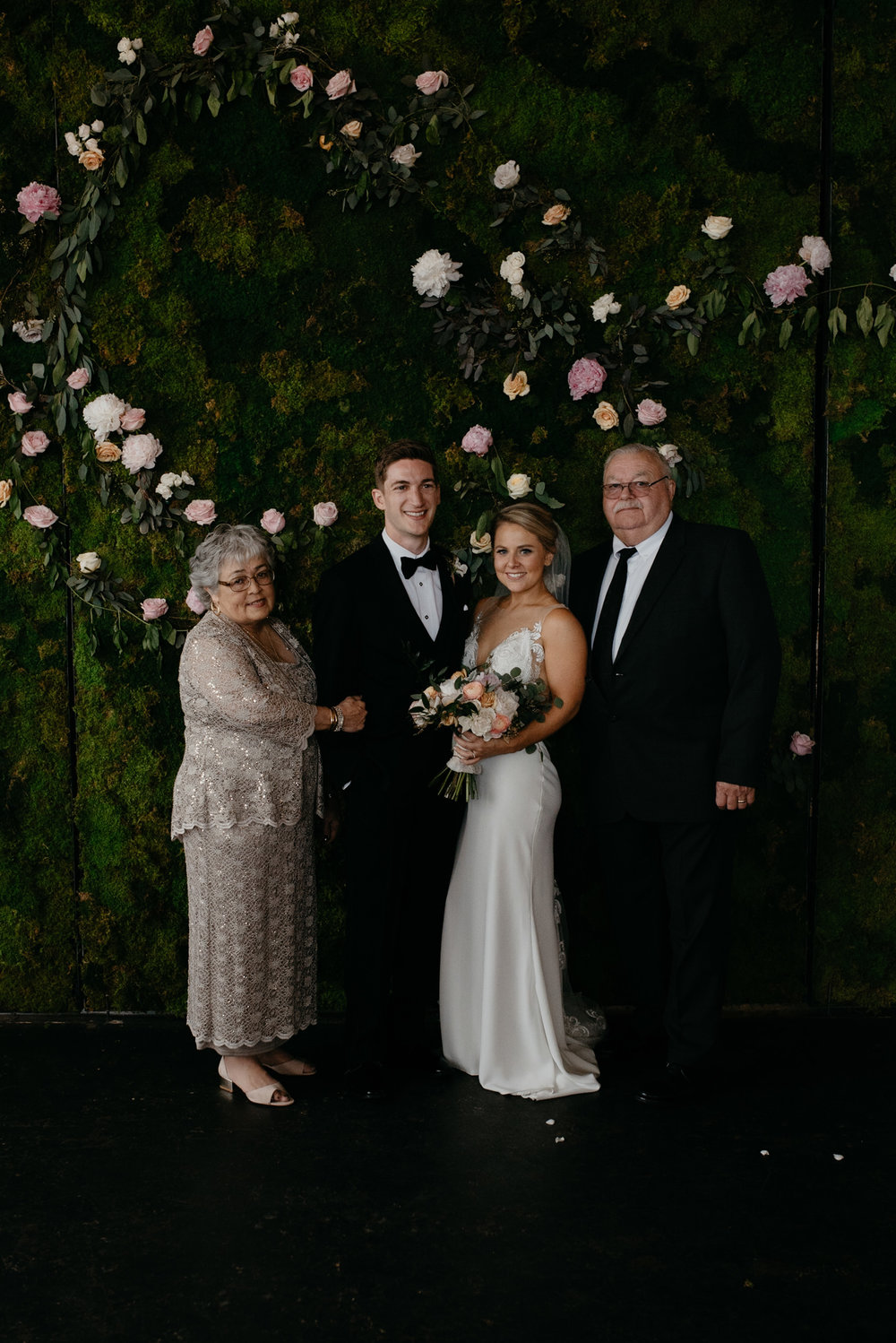 Grandparents and bride & groom at Moss wedding in Denver.
