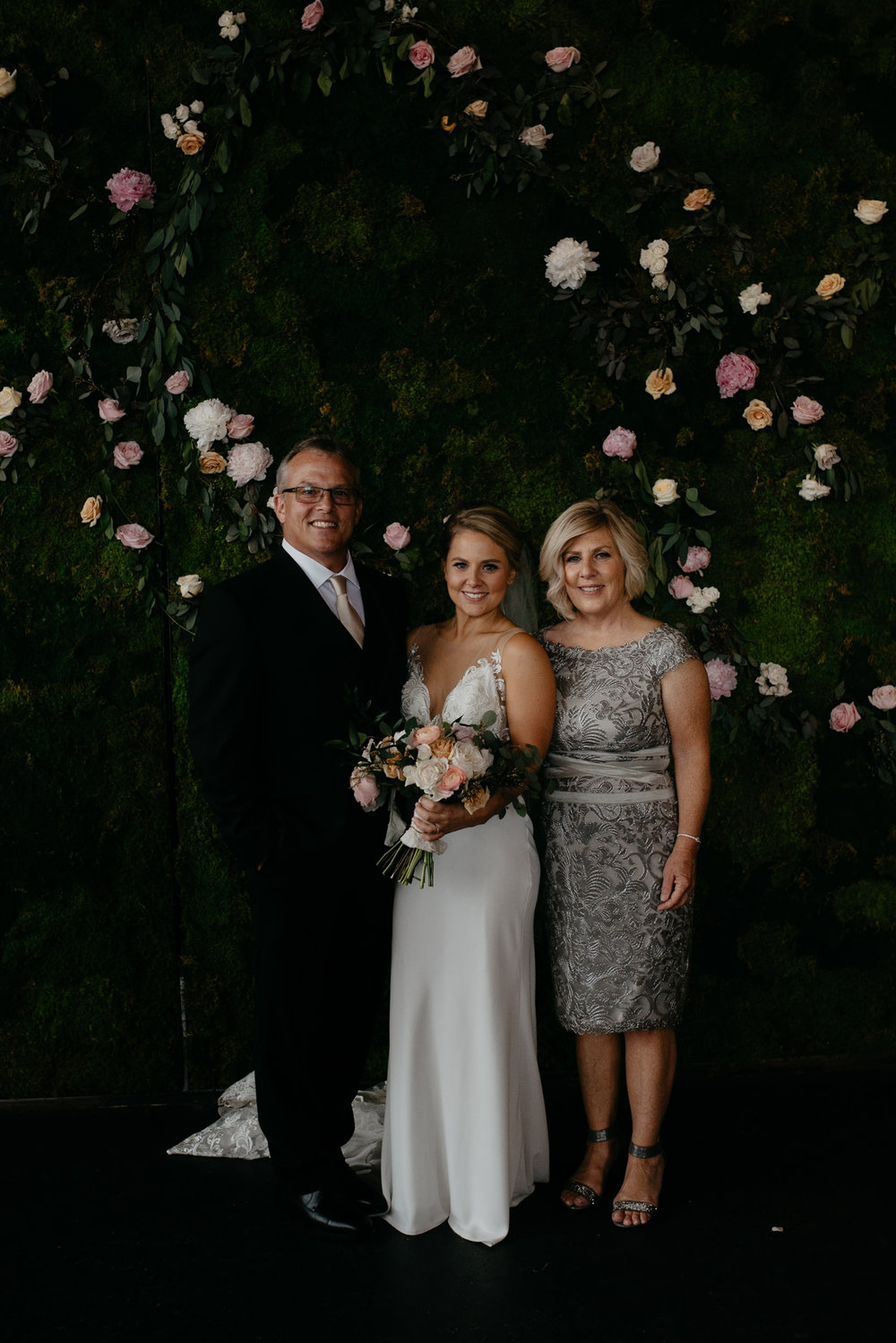 Bride and parents and Denver Moss wedding. Denver wedding venue.