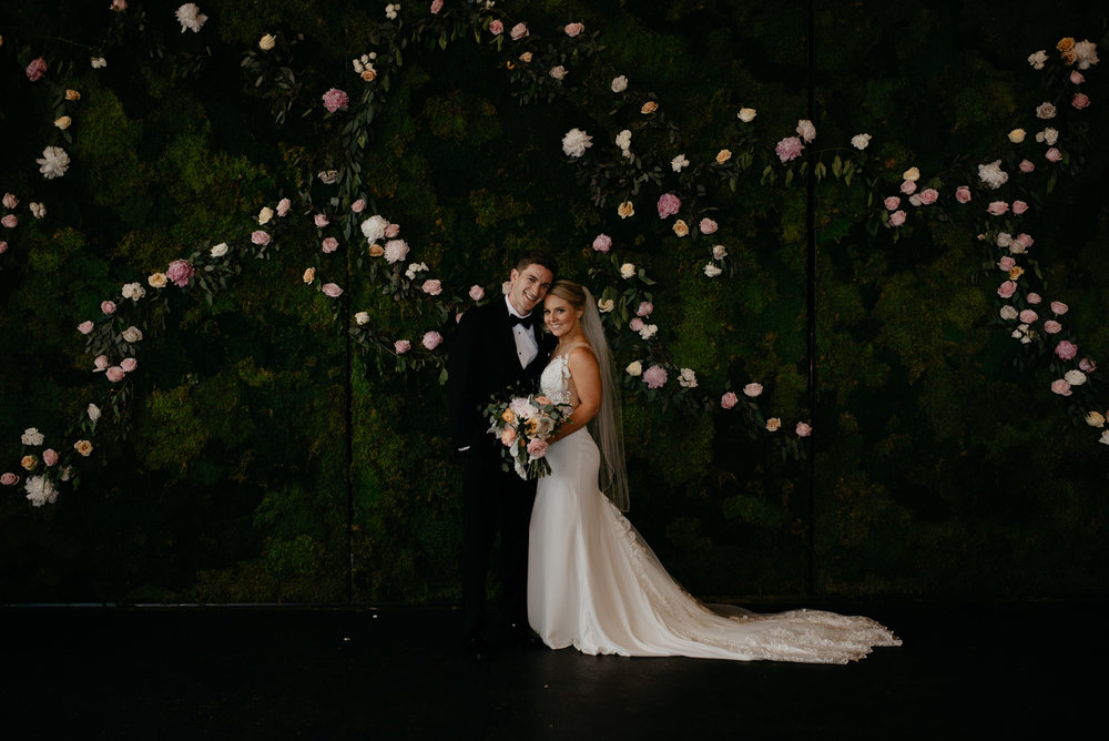 Bride and groom romantics at Moss in Denver