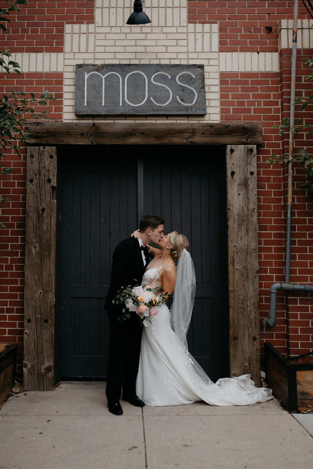 Bride and groom portraits at Denver wedding venue, Moss.