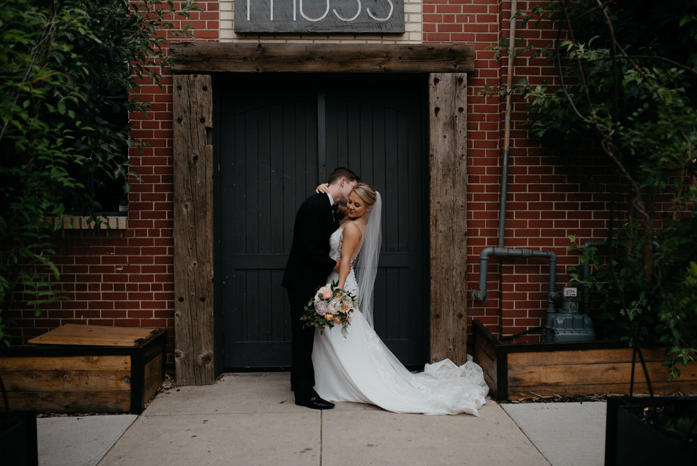 Bride and groom portraits at Moss Denver.