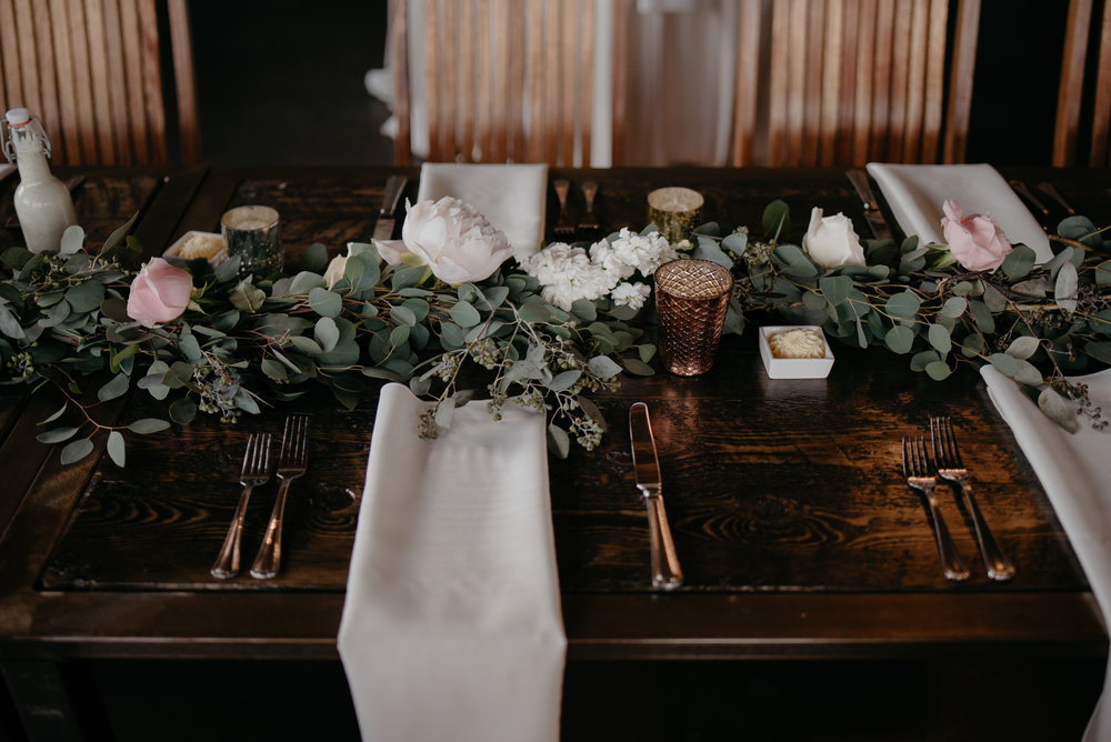 Wedding centerpieces at Moss in Denver, Colorado.