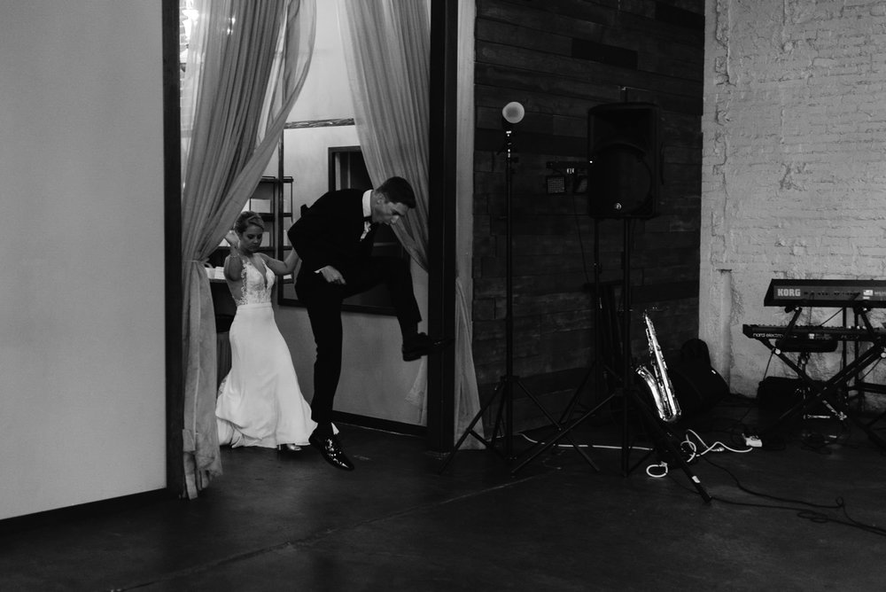 Alyssa Reinhold, Colorado wedding photographer. Groom entrance as Moss wedding.