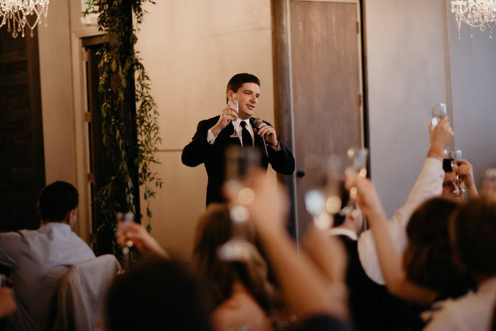 Best man speech at Moss Denver wedding. Volorado wedding photographer.