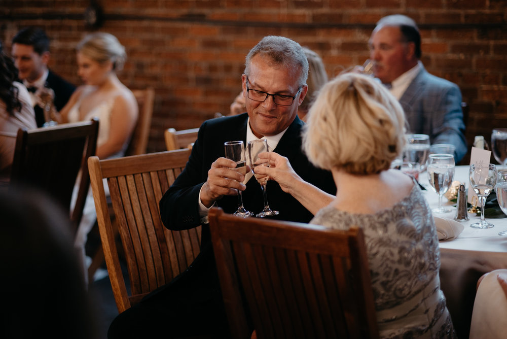 Moss Denver wedding. Toasts and speeches. Colorado wedding photographer.